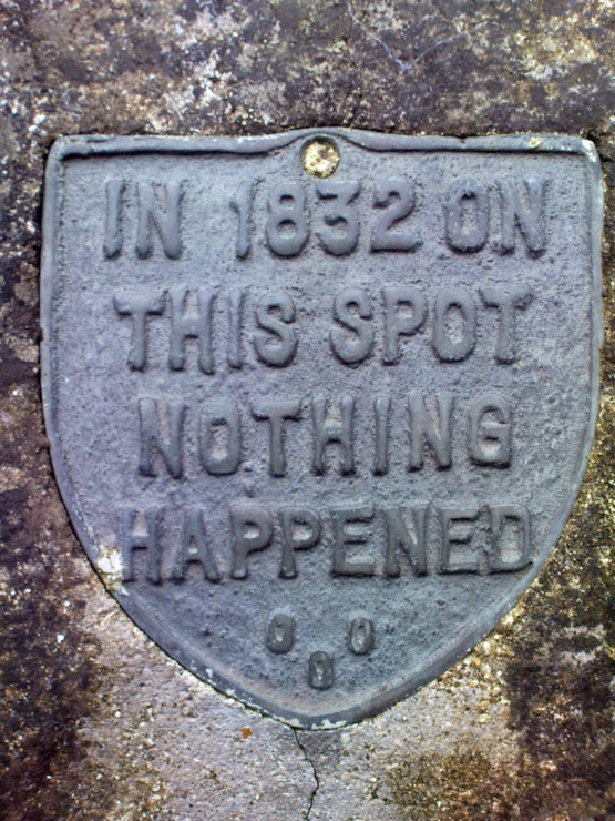 funny plaque-in 1832 on this spot nothing happened-haiku funny prompt