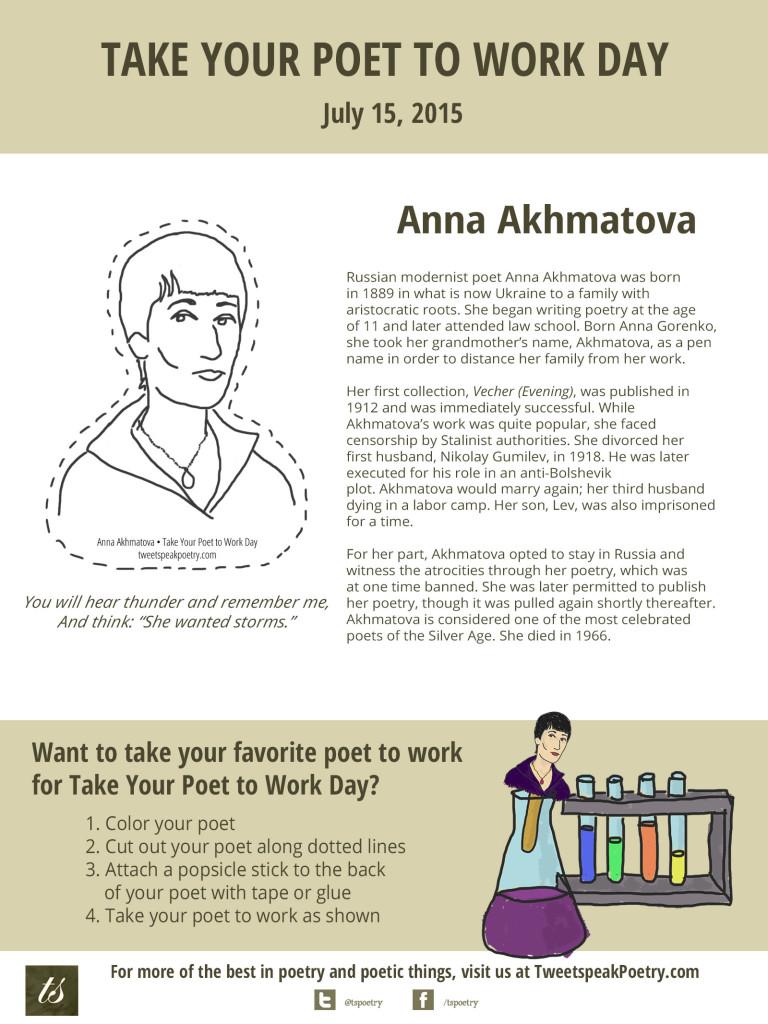 Take Your Poet to Work Day Printable Anna Akhmatova