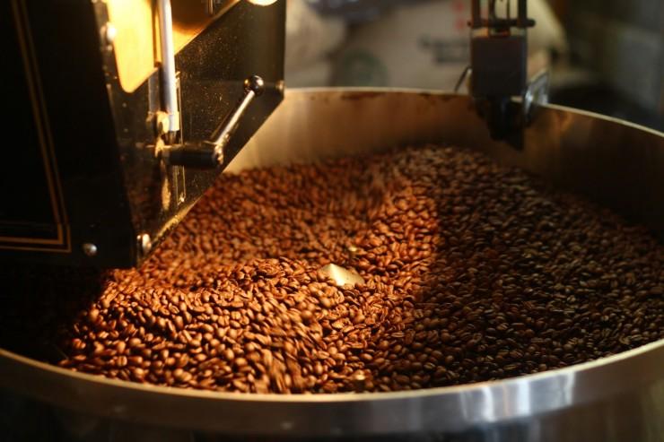 coffee beans roasting in machine