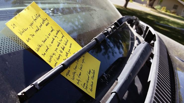 Random Acts of Poetry Machado on windshield