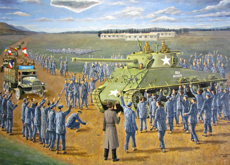 Samuel Pruchno liberation painting at Holocaust Memorial Center