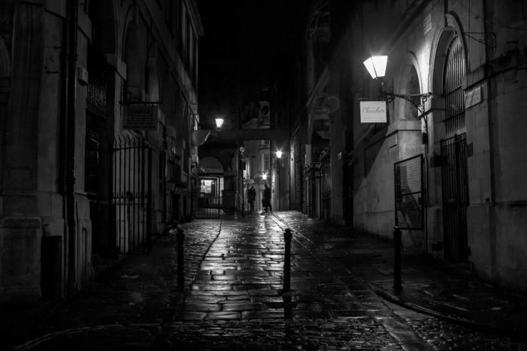 nighttime-brick-street-two-elephants