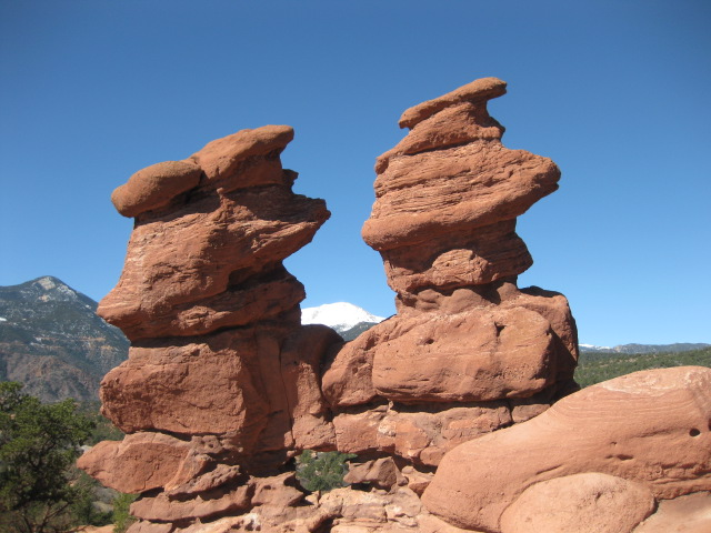 Siamese Twines with Pikes Peak in background - Garden of the Gods, Colorado