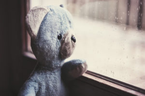 Emotional literacy - stuffed bear at window