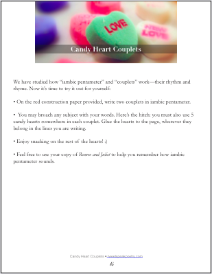 Candy Heart Couplets Free Printable Activity for Romeo and Juliet