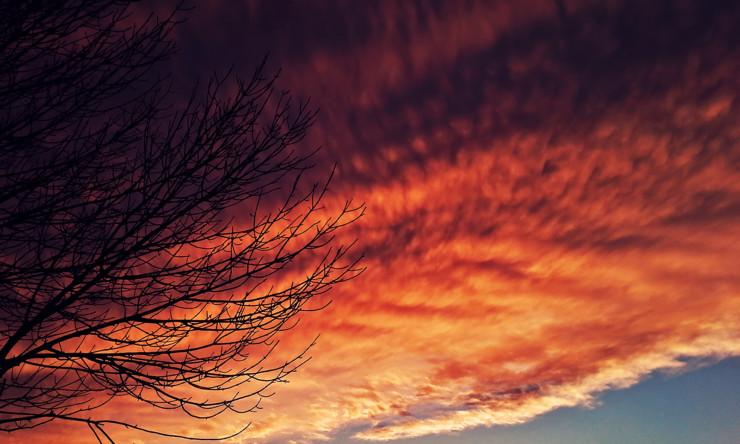 Metz Michigan Fire red sunset clouds like fire