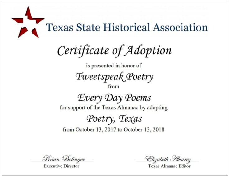 Poetry Texas Adoption Certificate