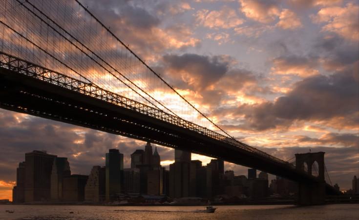 Sunset Brooklyn Bridge Poetryat Work Day