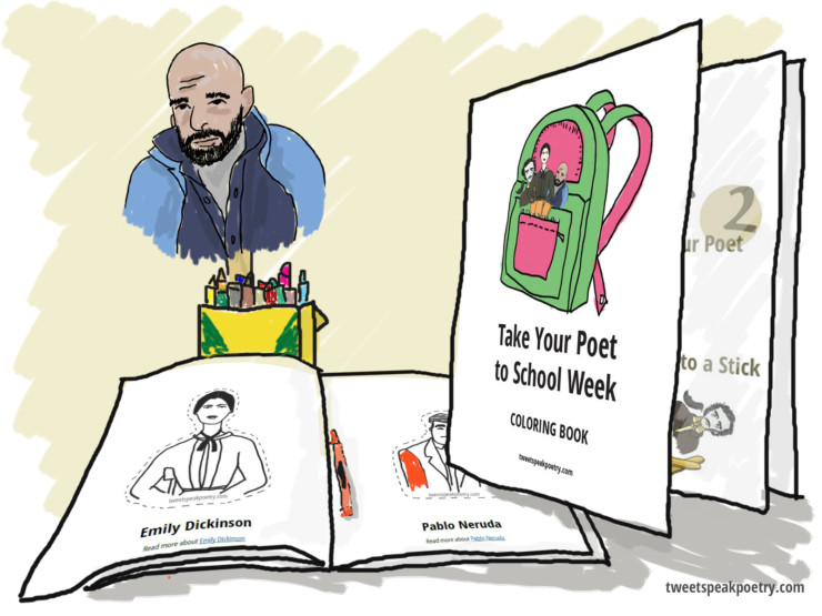 free take your poet to school week coloring book feature