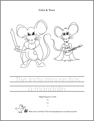 Mouse and Mandolin Literacy Coloring Page