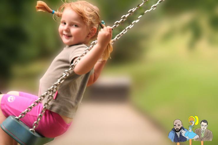 Take your Poet to School Week girl on swing
