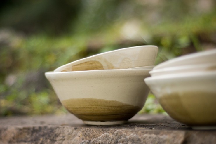 Farmacology bowls on stone wall