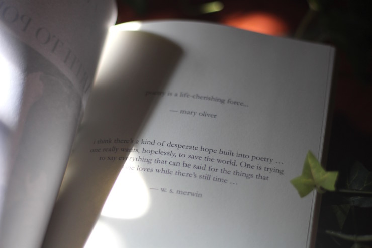 Poetry is a life cherishing force Mary Oliver quote for climate book + Desperate hope built into poetry W.S. Merwin quote
