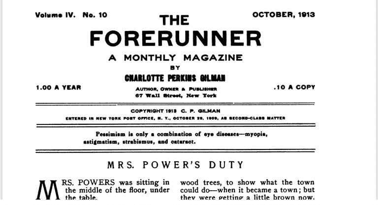 The Forerunner Original 1913 October Issue Published by Charlotte Perkins Gilman