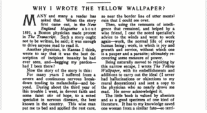 The Forerunner Original 1913 October Issue Why I Wrote The Yellow Wallpaper? by Charlotte Perkins Gilman