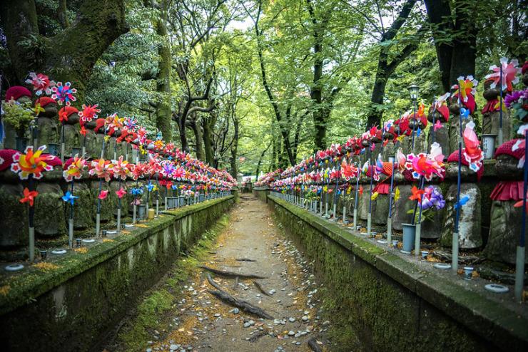 row of colorful pinwheels in tokyo