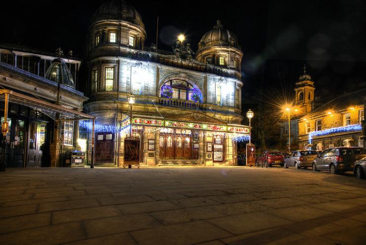 Buxton Opera House lit up at night