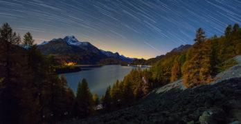 Via Engiadina star trails and moonlight